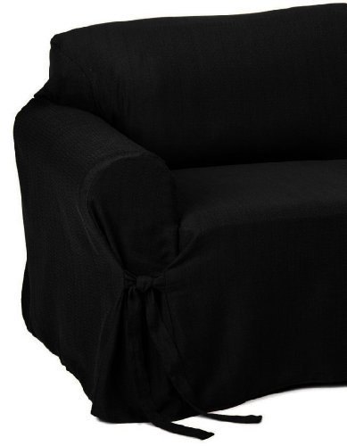 2 Piece Jacquard Stripe Fabric Solid Black Couch Sofa Loveseat Cover Slipcover Set Buy