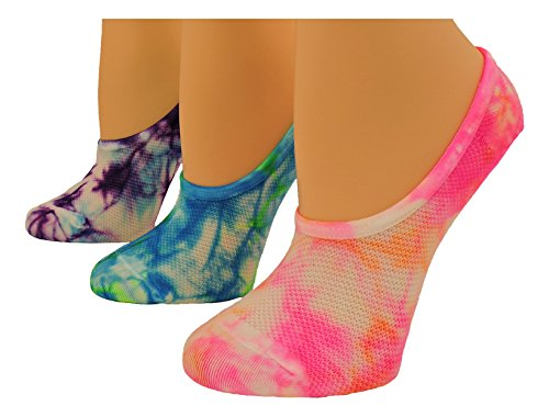 MadSportsStuff Tie Dye No Show Socks 3 Pack (Multi-Neon, (Tie Dye Youth Socks)