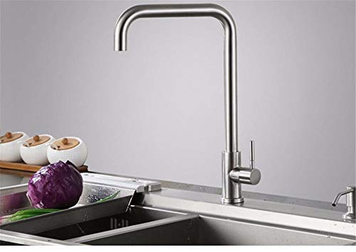 - GFF Sink Mixer Tap Bathroom Kitchen Basin Tap Leakproof Save Water 304 Stainless Steel Swivel Tube Single Cold Kitchen and Cold Water Tube Socket Black 000