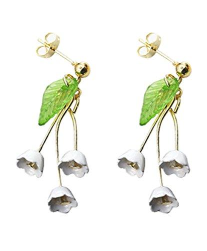 - Gold Plated 14k Green Leaf 3 White Daisy Sun Flower Women Tassel Hook Dangle Drop Earrings