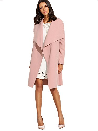 Verdusa Women's Drape Open Front Waterfall Belted Wrap Coat Jacket Pink M (Pink Coat)