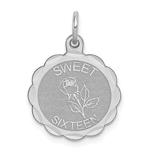 bb4c91c4a26d 925 Sterling Silver Sweet 16 Medal Pendant Sixteenth Birthday Disc Charm  Fashion
