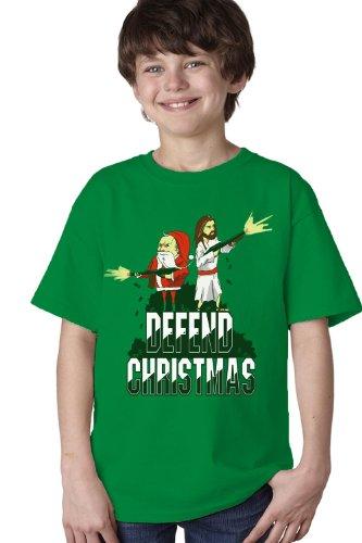 DEFEND CHRISTMAS! Youth T-shirt / Santa & Jesus Holding back Atheist Hordes