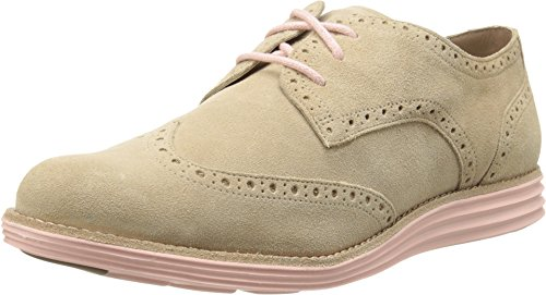 Galleon - Cole Haan Women's Lunargrand Wing Tip Oxford,Cremini Suede/Seashell  Pink,8 B US