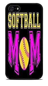 Softball Mom Black Silicone Case for iPhone 5 / 5S by supermalls
