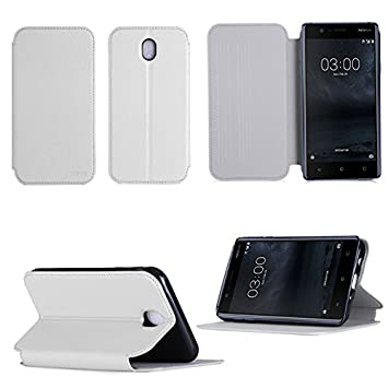 best authentic discount shop special sales XEPTIO Etui Nokia 3 Blanc Slim Cuir Style avec Stand: Amazon ...