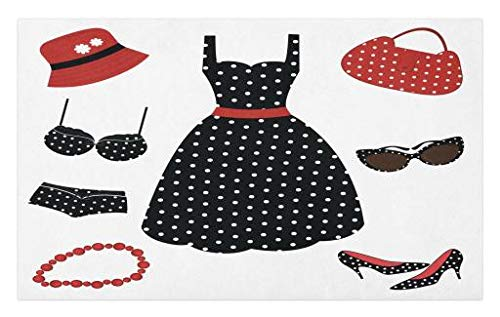 Lunarable 1950s Doormat, Fifties Style Collection Female Fashion Dress Bag Hat Heels Shoes Sunglasses, Decorative Polyester Floor Mat with Non-Skid Backing, 30 W X 18 L Inches, Red Black White for $<!--$24.99-->