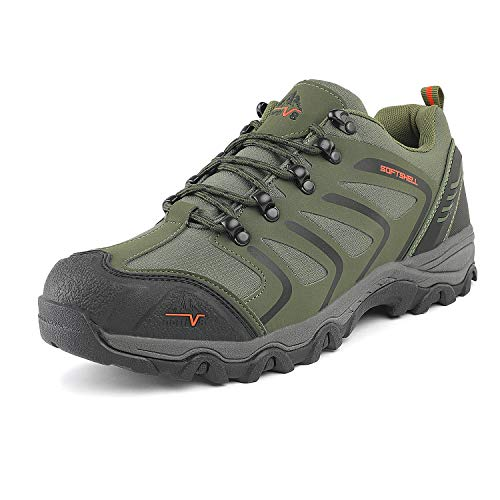 NORTIV 8 Men's 160448-low Army Green Black Orange Low Top Waterproof Hiking Boots Outdoor Lightweight Shoes Backpacking Trekking Trails Size 9 M US