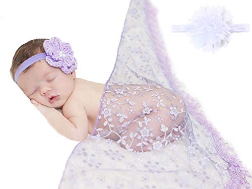 Layer Scarf - Sunmig Newborn Baby Photo Props Floral Lace Layers Photography Tassel Wrap Scarf (Purple)
