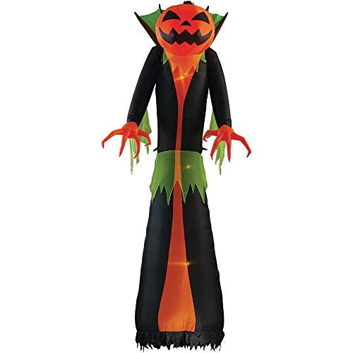 Home Accents Holiday 12 ft. Pre-Lit Inflatable GhostFlame Wicked Pumpkin Creeper (RRPm) Airblown]()