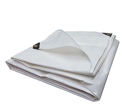 Heavy Duty Tarpaulin All Purpose Reinforced Canopy Poly Tarps 6Oz 12 Mil (White) (16 x 24 Feet)