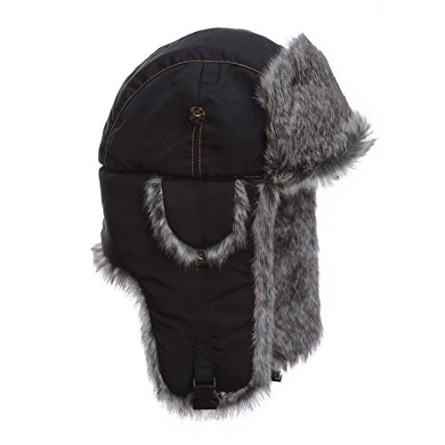 Mad Bomber Black Aviator Pilot Bomber Hat with Faux Fur Trapper Hunting Cap, Medium ()