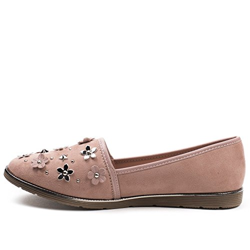 Ideal Shoes, Damen Slipper & Mokassins Rose