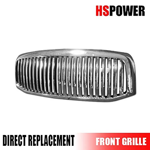 HS Power Chrome Vertical Front Hood Bumper Grill Grille Cover 2006-2009 for Dodge Ram 1500/2500 / 3500