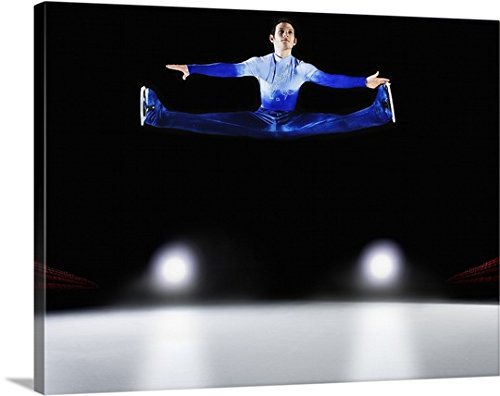 Canvas On Demand Premium Thick-Wrap Canvas Wall Art Print entitled Figure skater performing jump