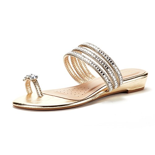 - DREAM PAIRS Women's Jewel_05 Gold Fashion Rhinestones Design Slides Sandals Size 8 M US