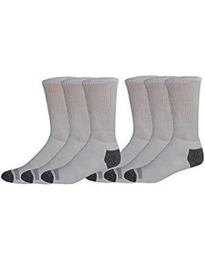 Men's Cushion Comfort Non Binding Basic Cotton Crew Socks, 6 Pair