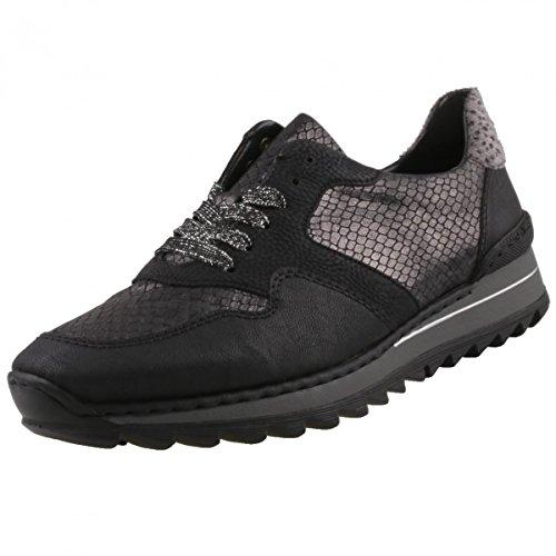 schwarz schwarz Rieker M692000 Femmes granit granit lacets noir à Chaussures schwa schwa Xw6ZxwF