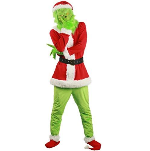 NECHARI Christmas Costume Movie Cosplay Santa Full Set of Costume Accessory Prop (XXL) (Grinch Suit)