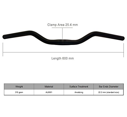 "5/"" Rise 27.5/"" Length Sunlite Mtb//City Steel Handlebars Black 25.4Mm Clamp"
