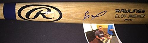 Eloy Jimenez Chicago White Sox Autographed Signed Engraved Bat (Blonde Engraved Bat)
