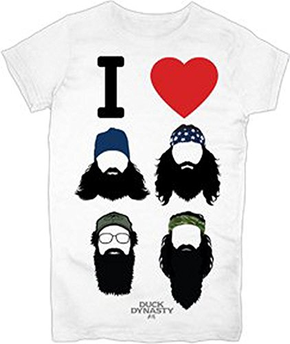 Duck Dynasty I Heart Beards Juniors White T-Shirt (Juniors XX-Large)