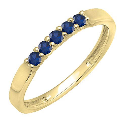 Dazzlingrock Collection 10K Round Blue Sapphire 5 Stone Ladies Anniversary Wedding Band Ring, Yellow Gold, Size 5.5
