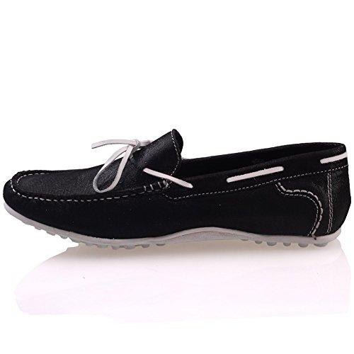 Unze Mocasines zapatos de cuero para hombre  Grisby  Negro