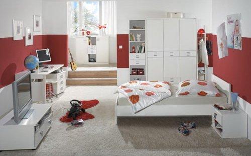 lifestyle4living Jugendzimmer 5-TLG in Alpinweiß, Schrank B: 135 cm, Bett 90 x 200 cm, Nachtschrank B: 46 cm, Schreibtisch B. 140 cm, Rollcontainer B: 46 cm