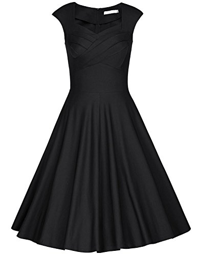SUNFYYF Women 1950s Retro Cap Sleeve Comfy Party Swing Dress BlackL Suave (50s Short Hairstyle)