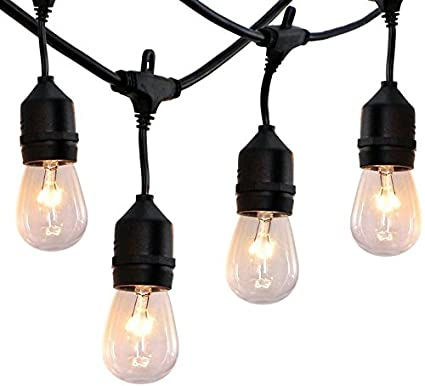 Amazon outdoor string lights 48 ft commercial grade outdoor outdoor string lights 48 ft commercial grade outdoor light strand with hanging sockets weatherproof mozeypictures Gallery