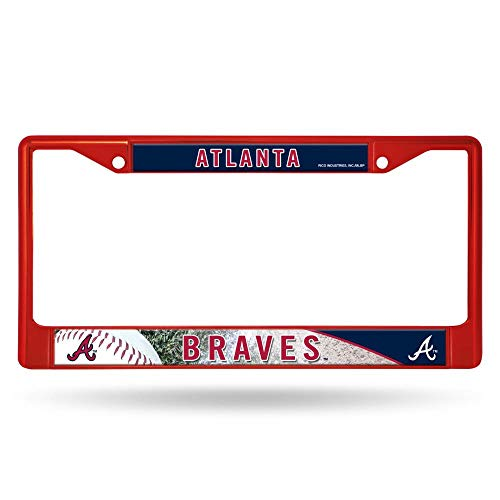 Rico Atlanta Braves MLB Red Painted Chrome Metal License Plate Frame