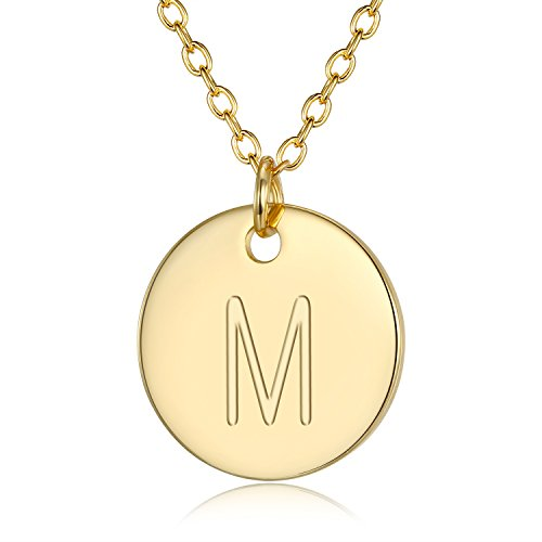 Adjustable Initial Disc Pendant Necklace - Combined With Personalized Alphabet M Electroplate 18K Gold Necklace for Women and Girls,Wedding Mother's Day and Birthday Gift - Initial Disc Necklace
