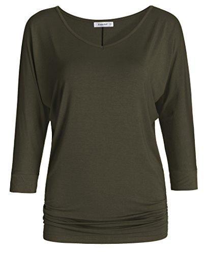 Esenchel Women's V-Neck Dolman Top 3/4 Sleeve Drape Shirt 2X Army Green