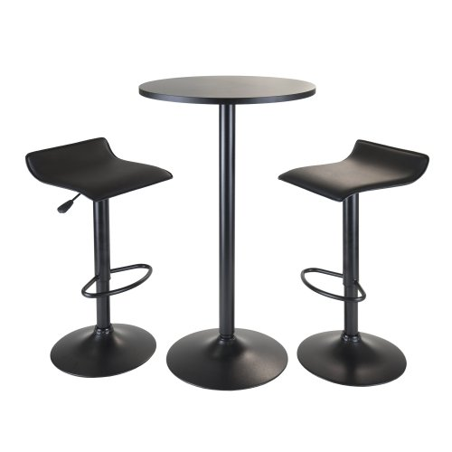 Winsome Obsidian 3-Piece Pub Set with Round Table and 2-Airlift Stools, - Piece Bar Set Table 3