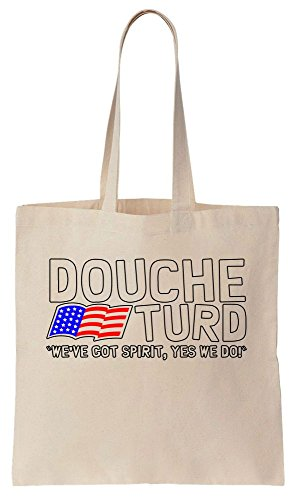 Douche Turd We've Got Spirit Yes We Do With Flag Of USA Design Sacchetto di cotone tela di canapa