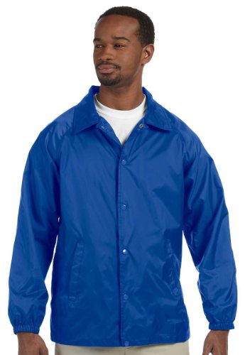 Harriton Men's Raglan Sleeves Nylon Staff Jacket True Royal Medium (Nylon Jacket Snap Front)