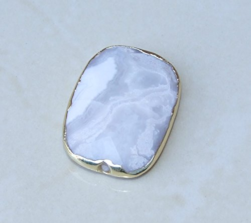 White Crazy Lace Agate Bead, Rectangle, Faceted, Mexican Agate, Center Drilled, Gold Edge, Gemstone Bead, Natural Stone - 25mm x 35mm