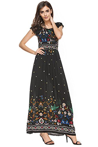 Damen Kleider Sommer Maxi Kleid Lang Mädchen Retro Elegant Blumen Drucken  Kurzarm O-Neck Hohe 8e08fa86c5