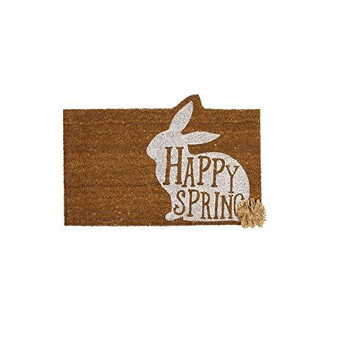Door Easter Happy - Mud Pie Easter Happy Spring Door Mat Coir Doormat, Brown