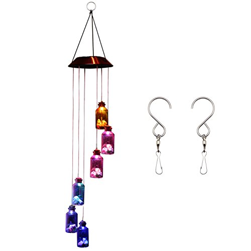 Ownuzz Solar Powered Wind Chimes (Lucky Star) Color Changing Wind Chimes Light with Double S Hanging Hook, Romantic Windbell Light Mobile Hanging lamp for Patio Gardening Lighting Home Decoration