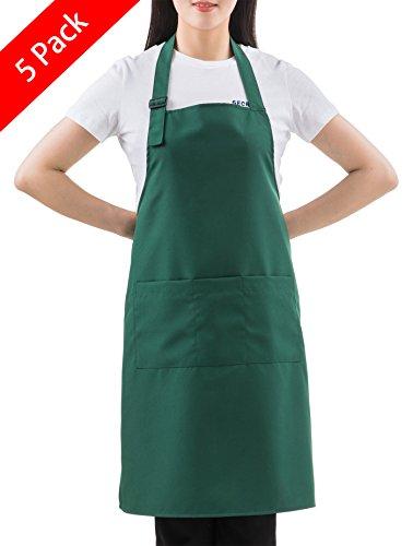 - SEW UR LIFE (5 Set Christmas Green Professional Water Resistant Adjustable Extra Long Bib Apron 3 Pockets Home Kitchen Garden Restaurant Cafe Bar Pub Bakery for Cooking Chef Baker Servers Craft