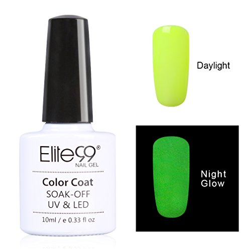 Elite99 Night Glow In the Dark Gel Nail Polish Soak Off UV LED Luminous Gel Polish Candy Colour Fluorescent Nail Art 10ml for Club, Festivals or Night out - Paint Good Dark The Glow In
