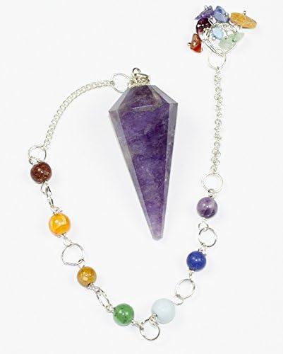 Pendulum Amethyst 7 Crystal Gemstone Chain Chakra Healing Includes Free Gift Bag