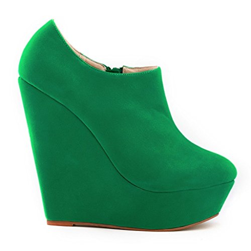ZriEy Women's Fashion Closed Toe Zipper Faux Suede Wedge High Heel Boot Booties Velvet Green Size 7 UK t1B0d2P2NX