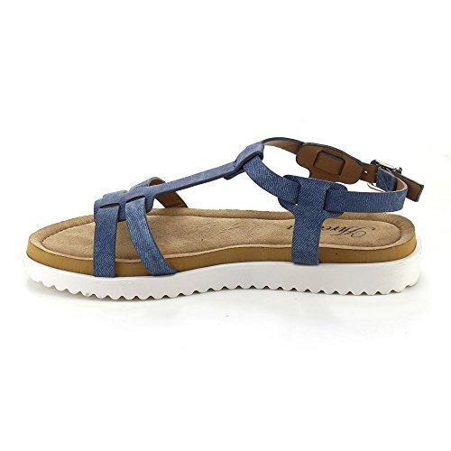 Dev Womens T-strap Perah-06 Gladiatore Sandalo Da Spiaggia Con Tacco Piatto Nero