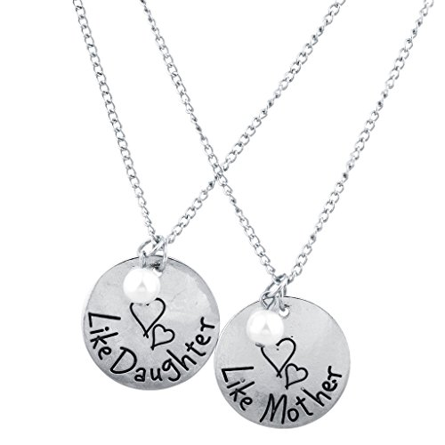 Lux Accessories Silver Tone Like Mother Like Daughter Engraved Necklace Set