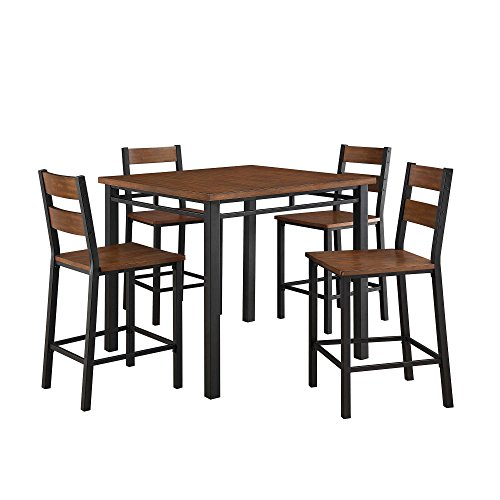Stylish 5-Piece Counter Height Dining Set, Includes Square Table and 4 Matching Chairs, Sturdy Wood and Metal Construction, Elegant and Contemporary Set, Easy To Assemble, Vintage Oak Finish