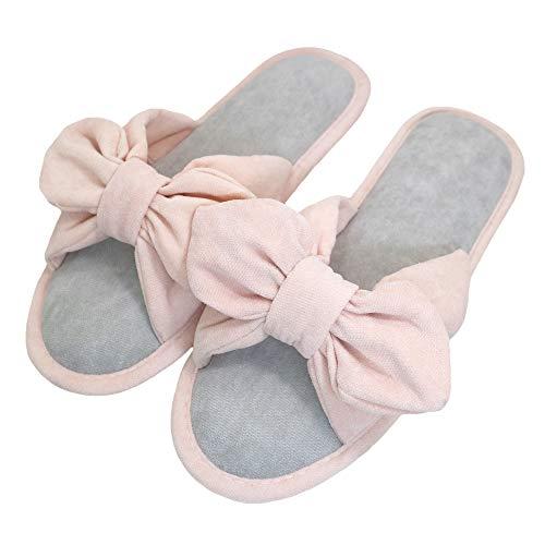 - bestfur Women's Cotton Bow-Knot Soft Sole Memory Foam Washable Cozy House Slippers Grey
