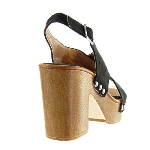 Angkorly - Scarpe da Moda sandali Mules zeppe aperto donna tanga borchiati fibbia Tacco a blocco tacco alto 9.5 CM - Nero